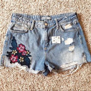 Zara Basic Z 1975 Denim Distressed Shorts